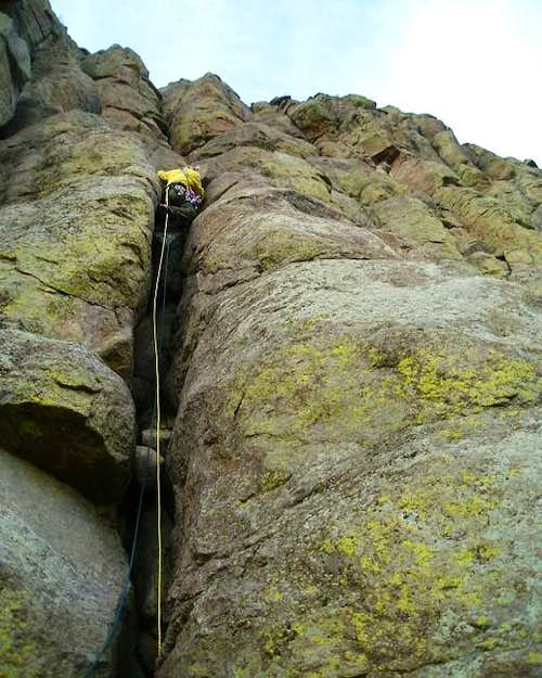 CHOCKSTONE CRACK. Todd Z. on the Durrance Route, Devils Tower, Wyoming.