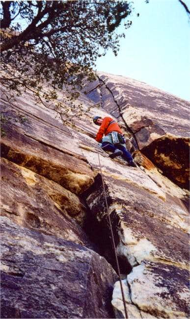 Leading pitch one (5.6) of...
