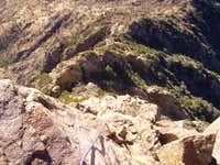 Looking down the SE Arete at...