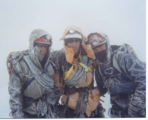 covered in ice at the summit-...
