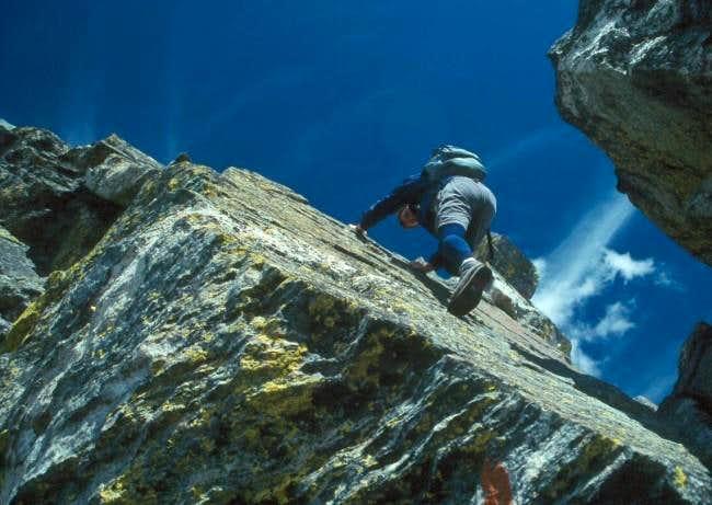 Climbing the crux gendarme on...