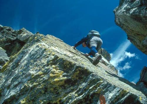 Climbing the crux gendarme on...