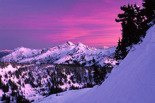 Tatoosh Range at sunset, Feb...