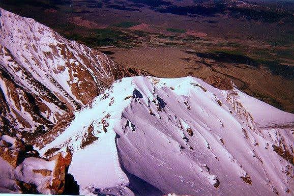 Borah Peak -- Looking down at...