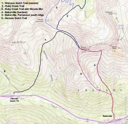 trail routes - scanned topo...