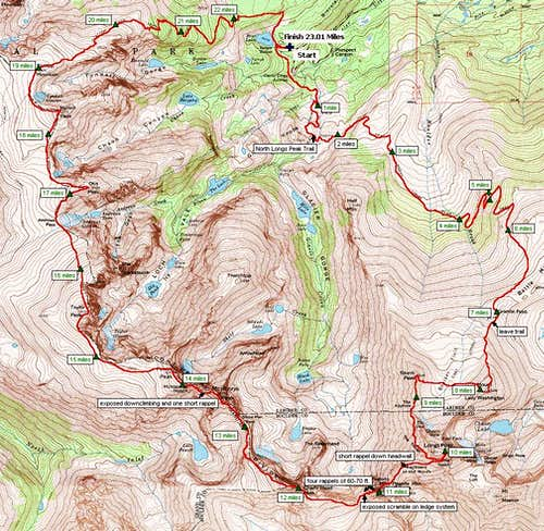 Glacier Gorge Traverse Map