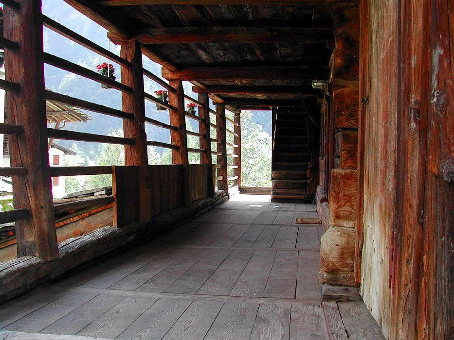 porch of a Walser house in Alagna