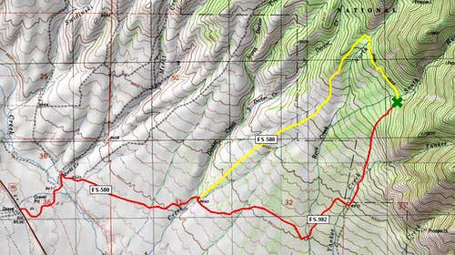 road map to Hunts\' West Ridge route
