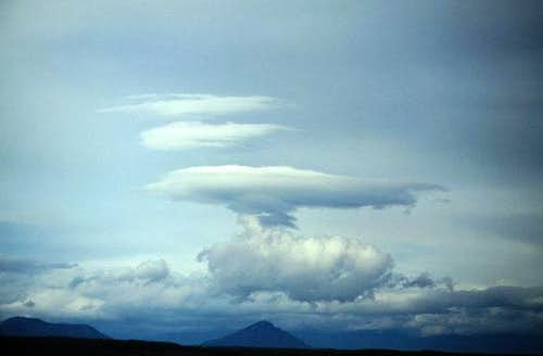 Lenticular clouds in Kamchatka