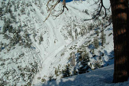 Debris from Baldy Bowl avalanche