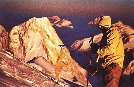 Hermann Buhl on the summit