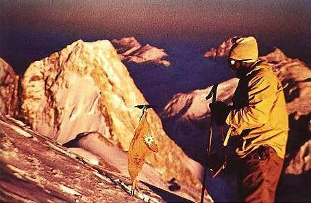 Hermann Buhl on the summit