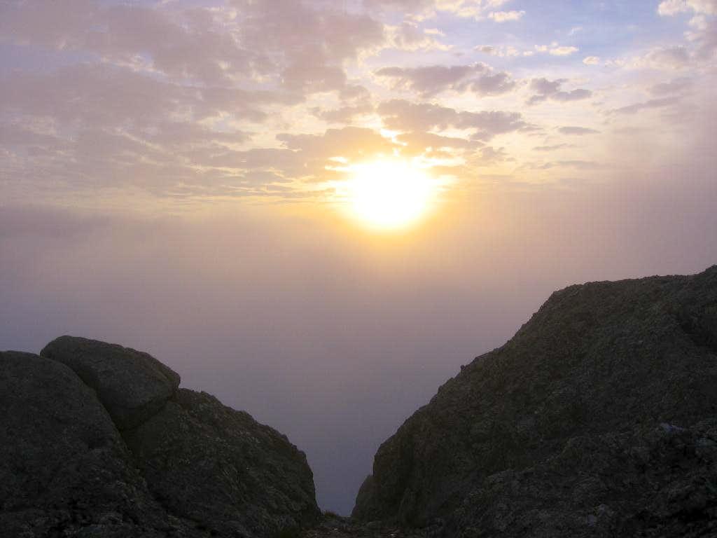 Foggy Sunrise on Little Devils Tower