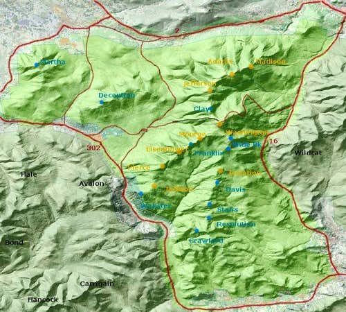 map of Presidential Range