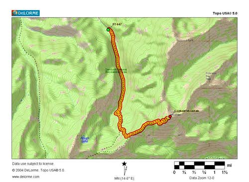 Map of Lookout Mt. Trail