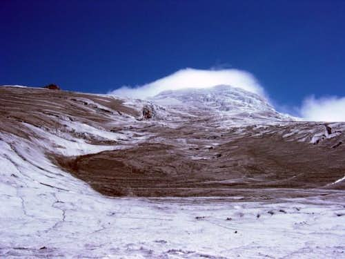 Cayambe covered in volcanic...