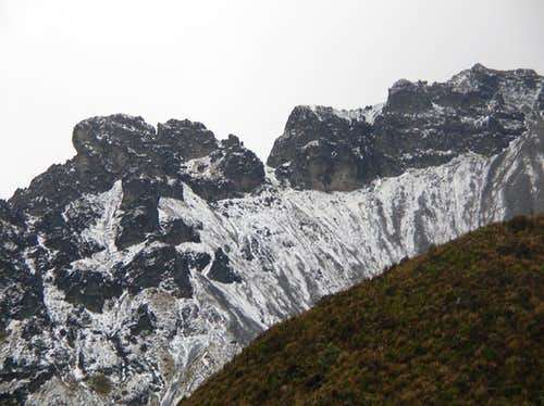Mountains covered in pea sized hail that rained down on us