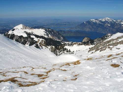 View from Glatt Grat above Brisenhaus to Lake of Lucerne