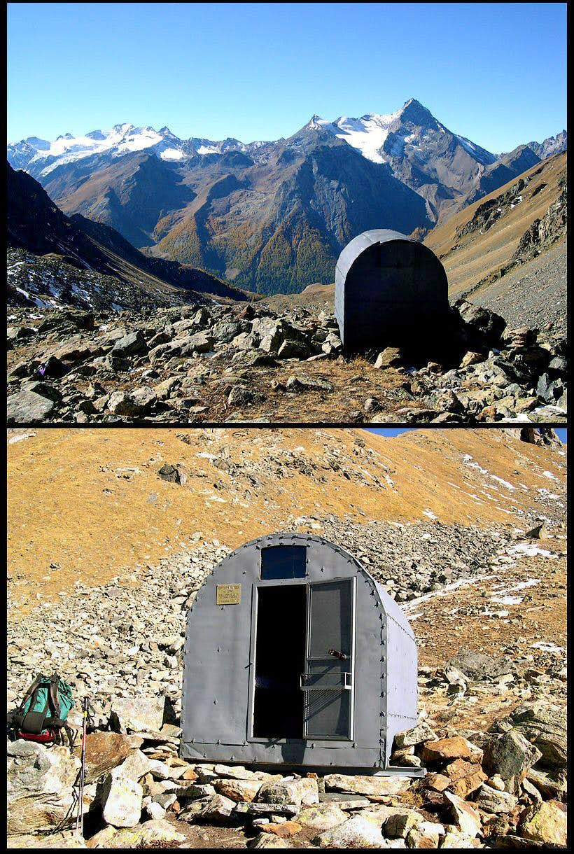 Double view  of Franco Nebbia fixed bivouac