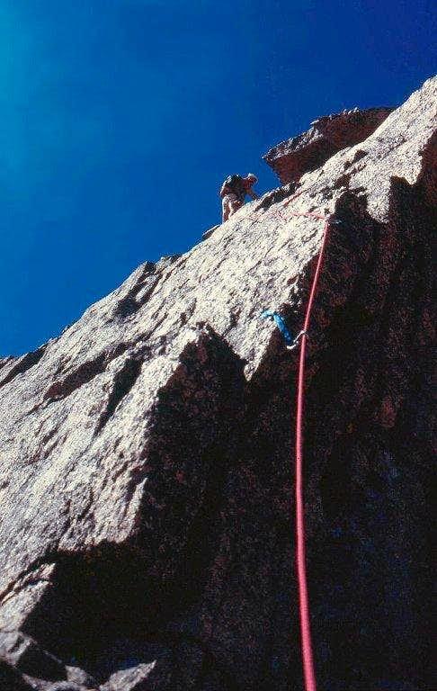 Finishing the vertical pitch on Keyhole Ridge.