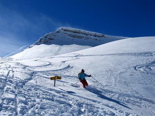 Below Glatt Grat where skiers must turn right to climb Brisen