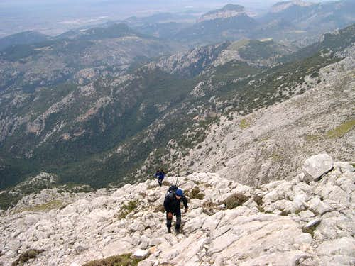 Scrambling up the Western face of Massanella