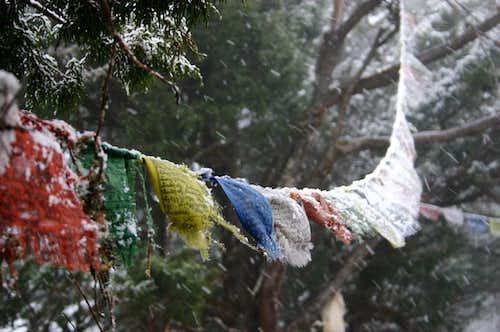 Snowy prayer-flags in Tengboche