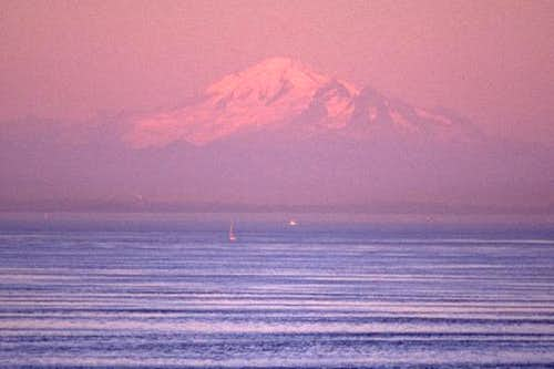 Mt. Baker appears to float...
