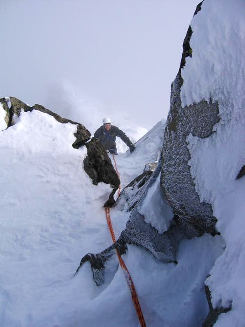 pinnacle climbing in winter