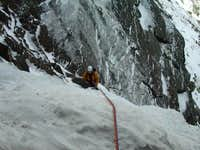 approaching the belay on the...