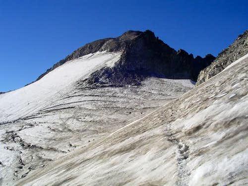 Aneto and its glacier descending from the ridge