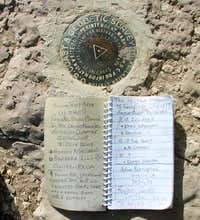 Benchmark and register of So. Tent Peak
