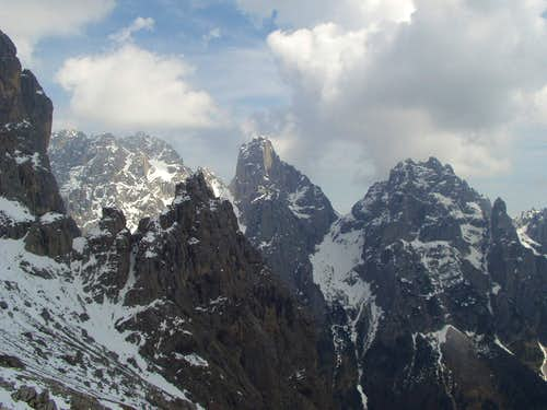 Look from Minazio Bivouac towards Sass d\' Ortiga and Pala della Madonna. In foreground, Pala dei Colombi