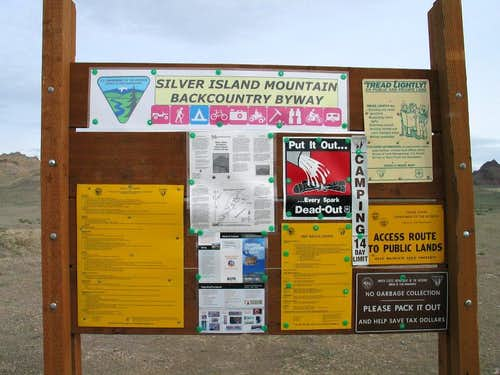 BLM sign for Silver Island Range