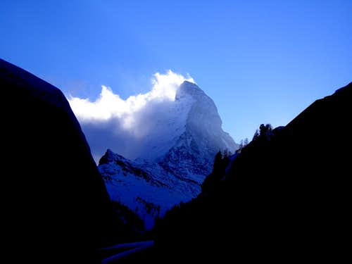 Matterhorn dominating Zermatt's valley