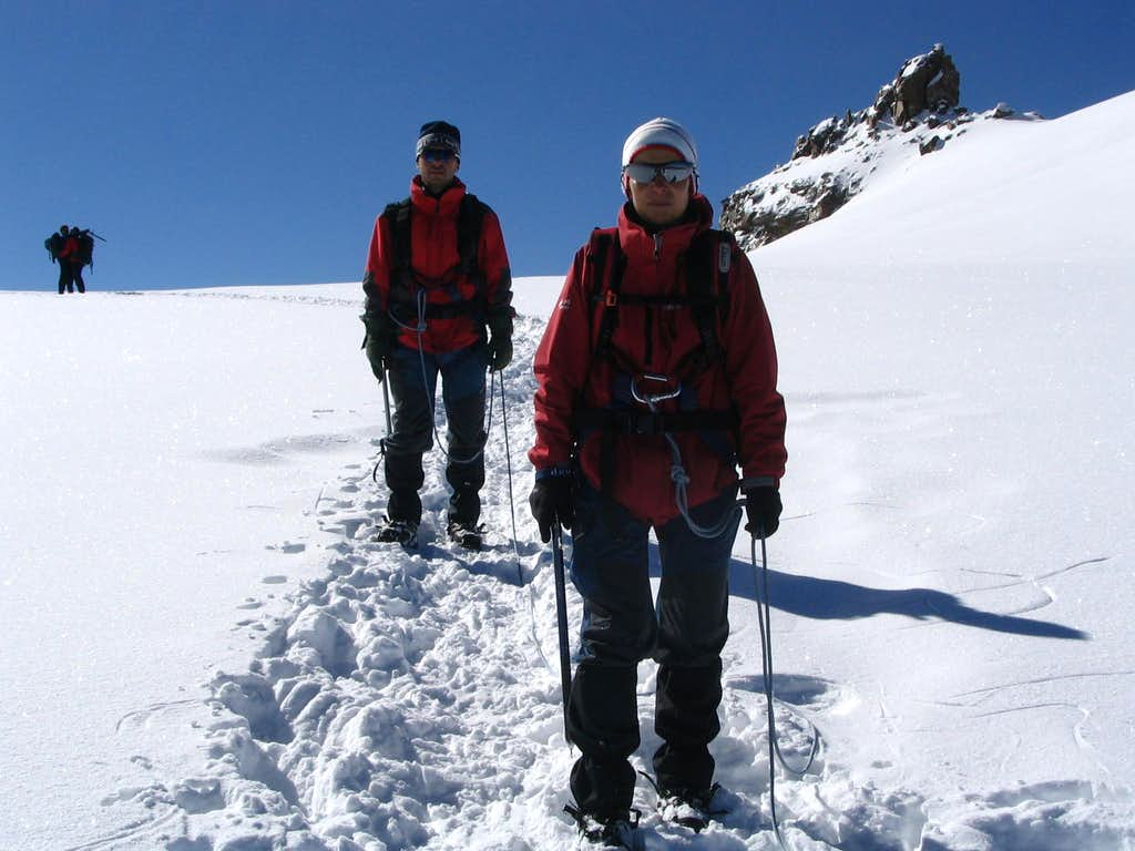 My parents and two happy people on descent from Gran Paradiso.7/2005