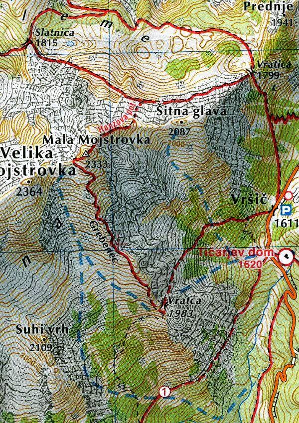 Map of Mojstrovka