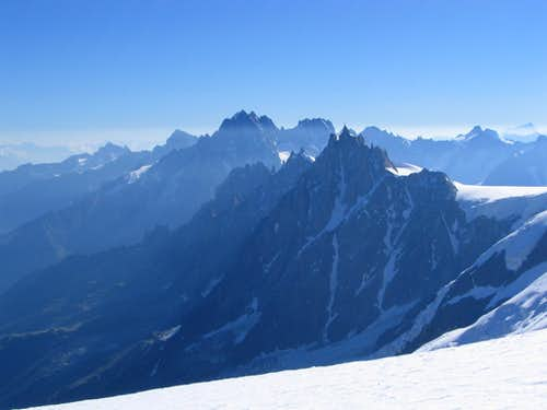 Aig. du Midi and Grandess Jorasses from Aig. du Gouter.7/2005
