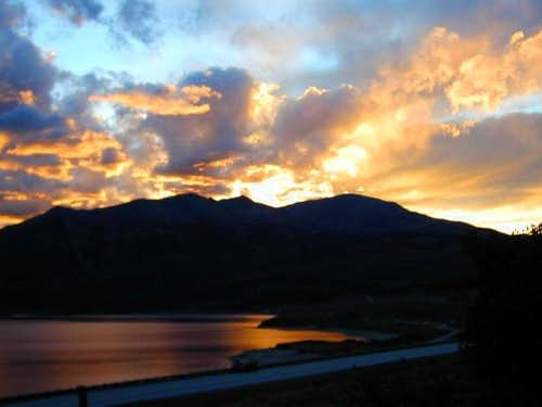 Sunset from Twin Lakes...just...