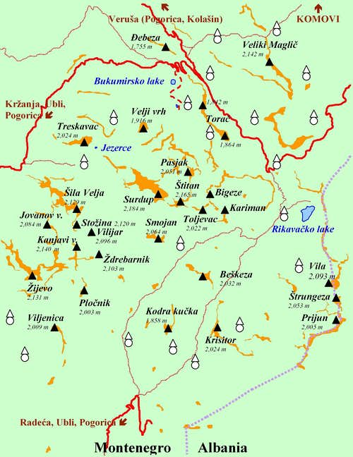 Practical Map of Kuči Mountains Group