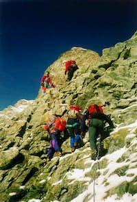 On the Hörnligrat. Summit to the far left.