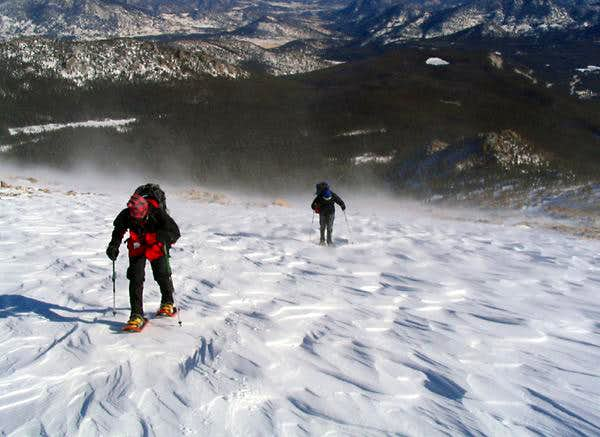 Trudging up Flattop Mountain