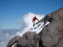 Rob traversing above the Labyrinth on Orizaba.