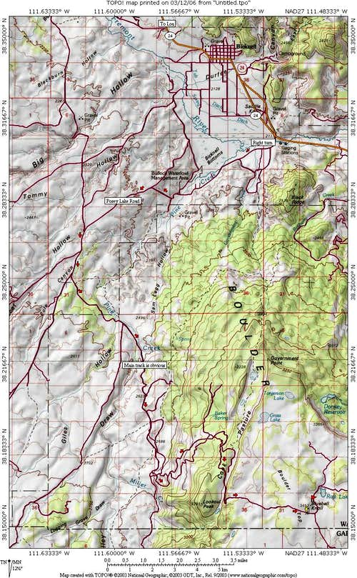 Bluebell Knoll area map