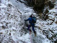 Ice climbing below Ben Lughmore
