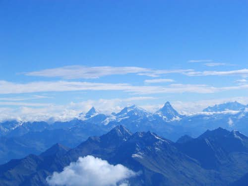 Aspect from summit of Gran Paradiso.View to Switzerland,Matterhorn is on the right.7/2005