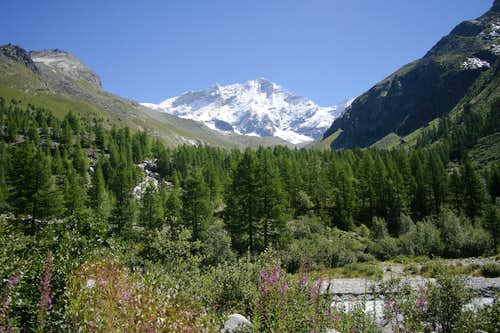 Weisshorn viewed from pont d\'Arpitetaz