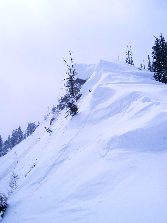 Cornices of the upper East ridge