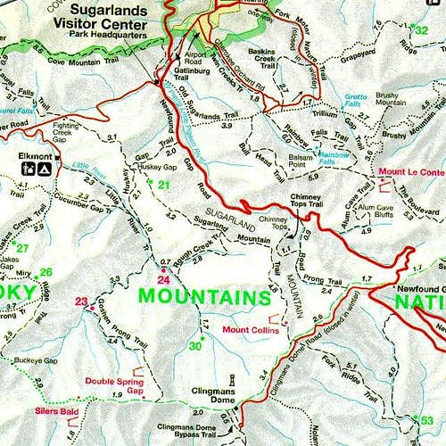 GSMNP Trail Map. From here...