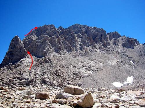 NW Buttress start (from Williamson Bowl)